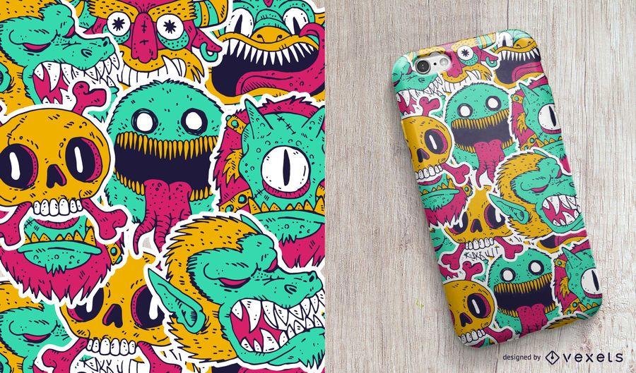 Diseño de la caja del teléfono monstruos