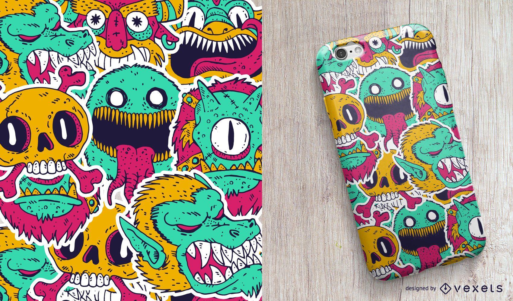Design de capa de telefone Monsters