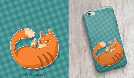 Design alaranjado da capa de telefone do gato malhado