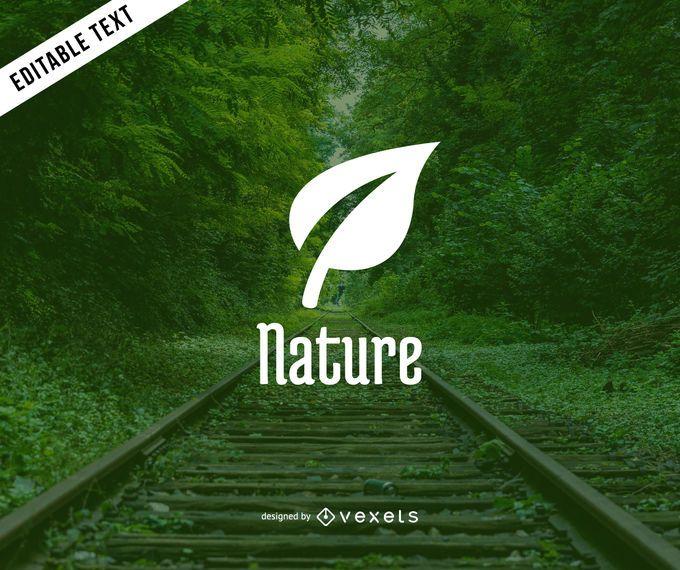 Design do logotipo da folha natural