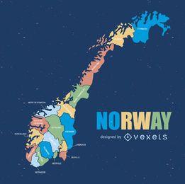 Mapa da divisão administrativa da Noruega