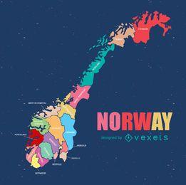 Mapa do condado regional da Noruega
