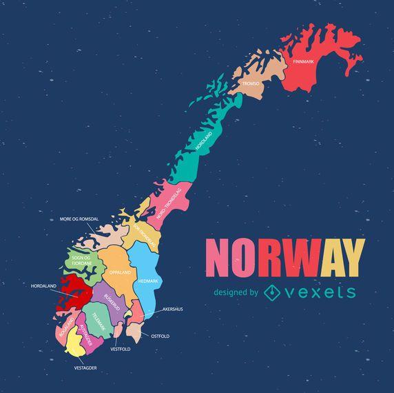Norway regional county map