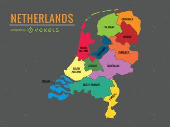 Mapa da divisão administrativa de Holanda