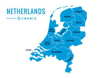 Mapa das províncias de Holanda