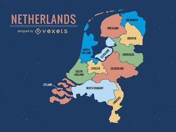 Mapa da província dos Países Baixos colorido