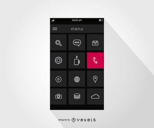 Design da interface do menu do smartphone