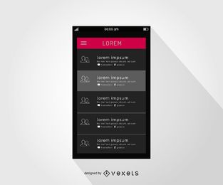 Design de interface de contatos do smartphone