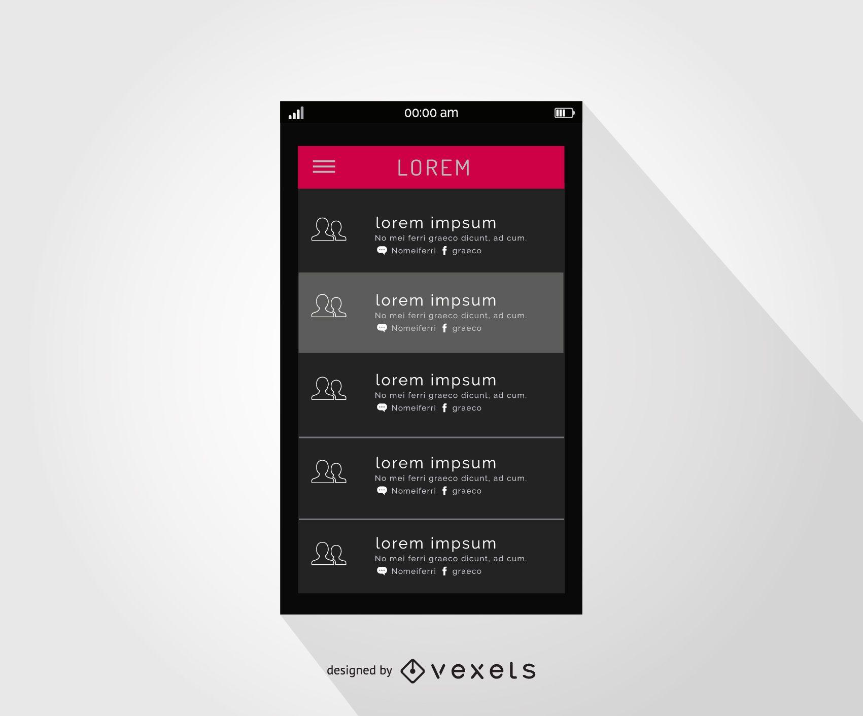 Diseño de interfaz de contactos de smartphone
