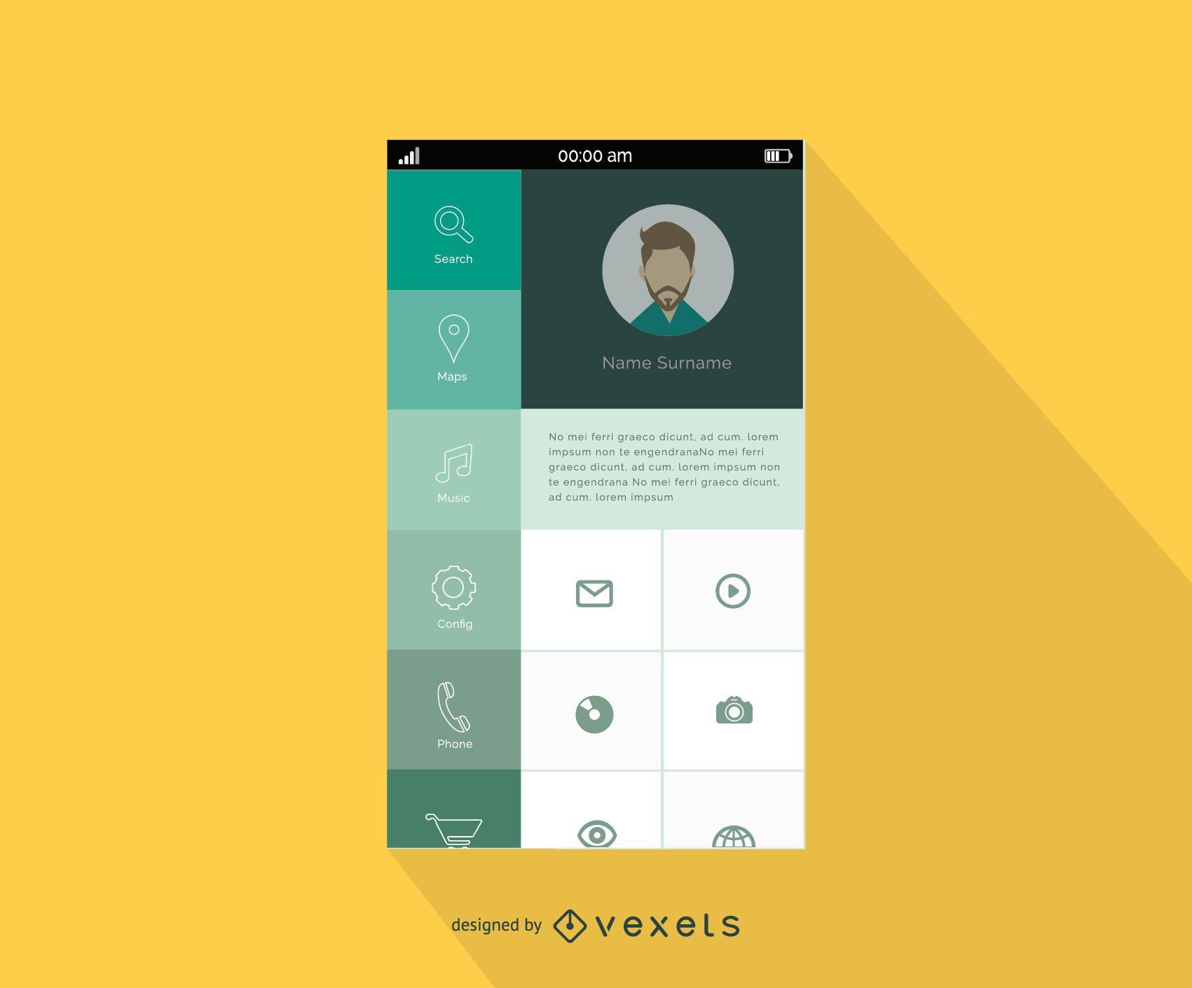 Diseño de menú de interfaz de teléfono inteligente