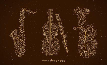 Conjunto de instrumentos musicales remolinos florales.