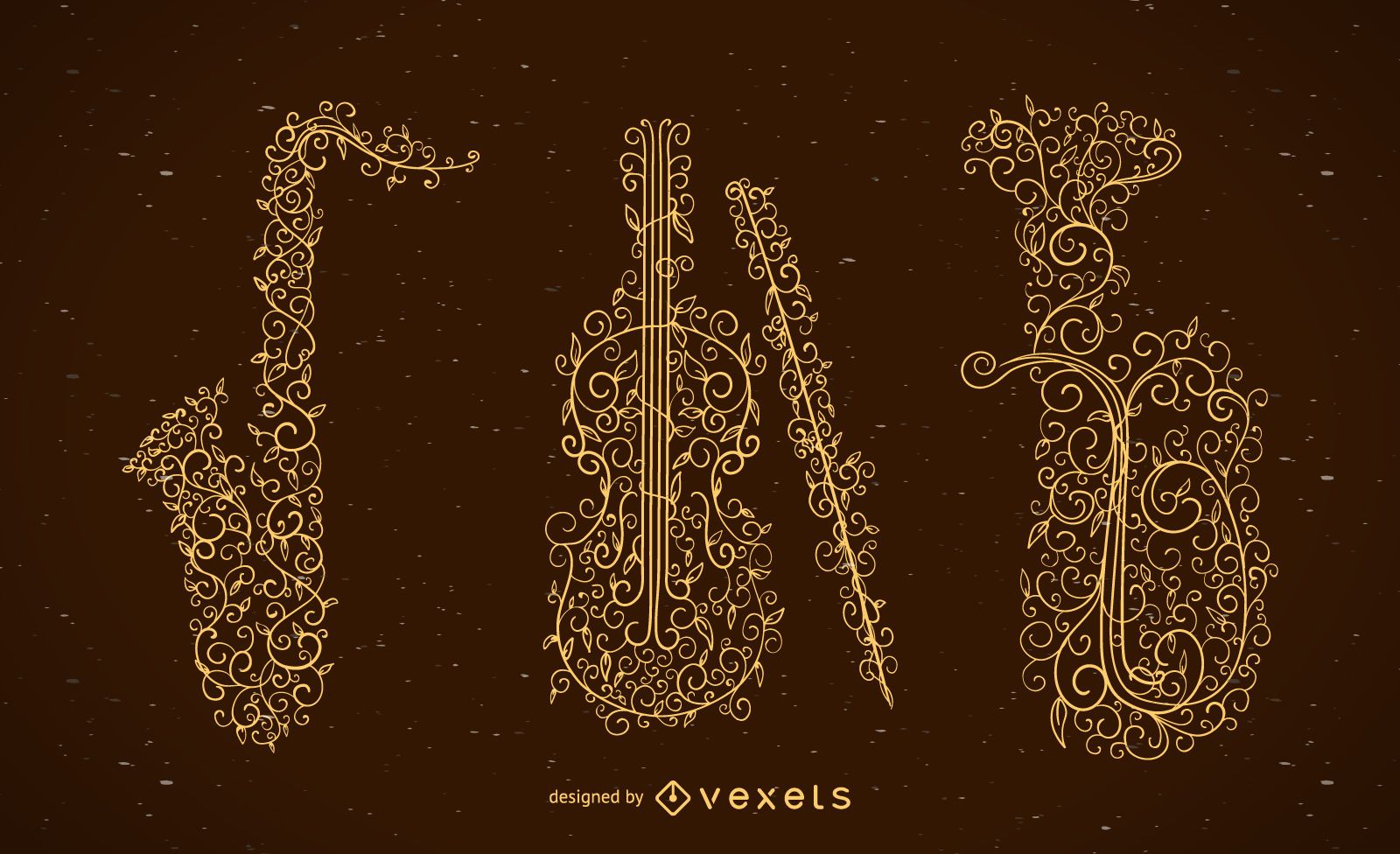 Conjunto de instrumentos musicales de remolinos florales.
