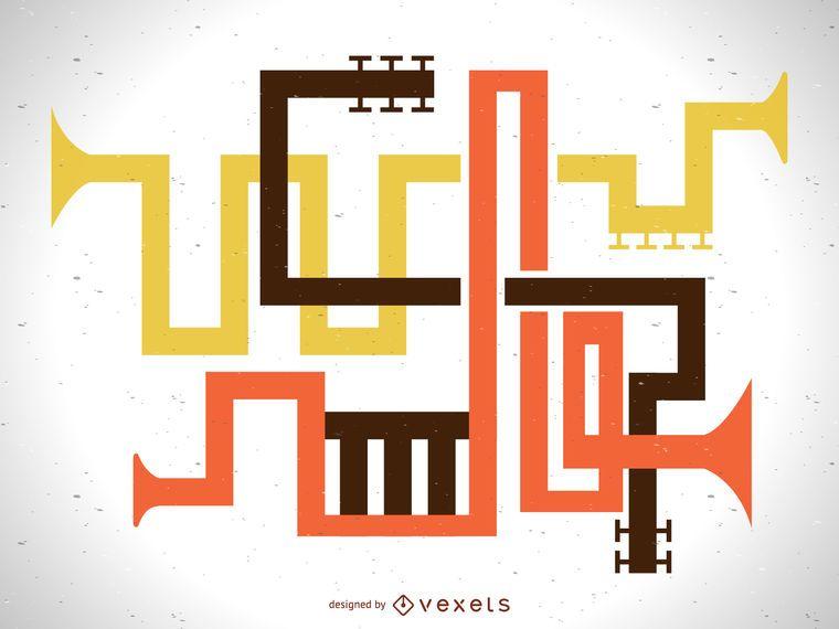 Ilustração abstrata da tubulação do instrumento musical