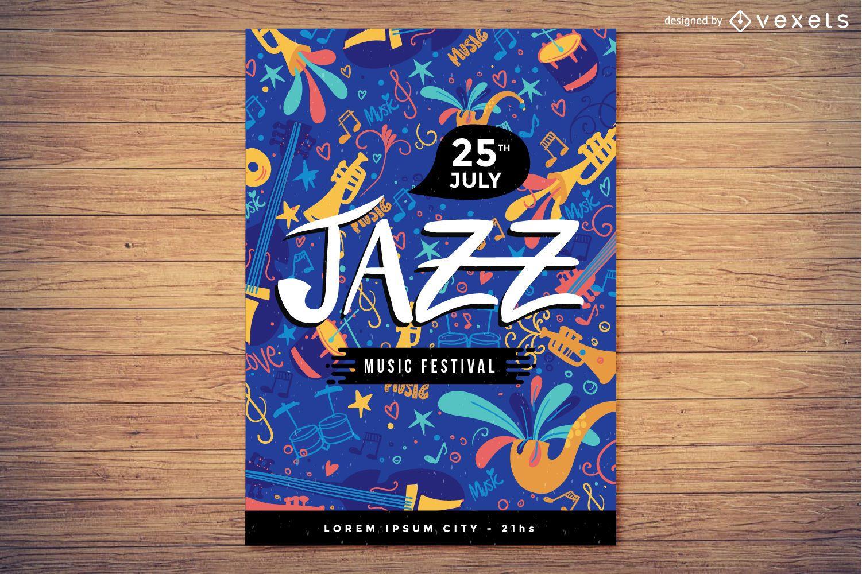 Diseño de cartel de festival de música de jazz.