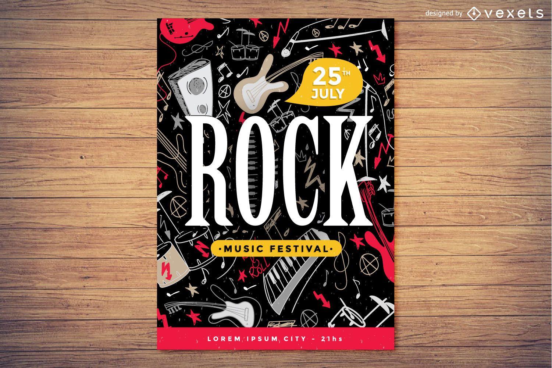 Concepto de cartel de festival de música rock