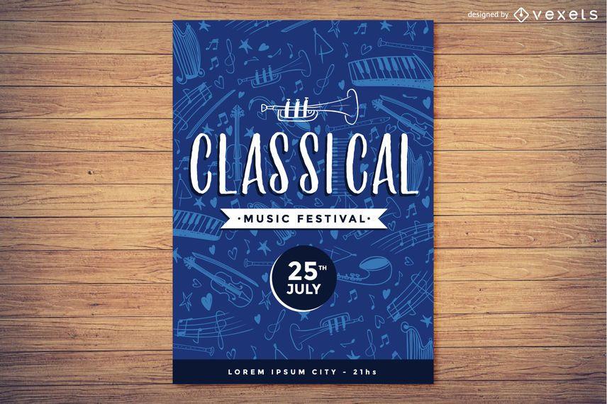 Festival de música clásica cartel diseño.