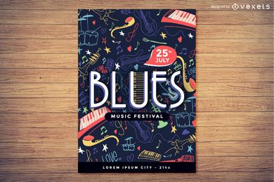 Concepto de cartel festival de música blues