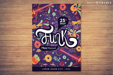 Diseño de cartel de festival de música funk
