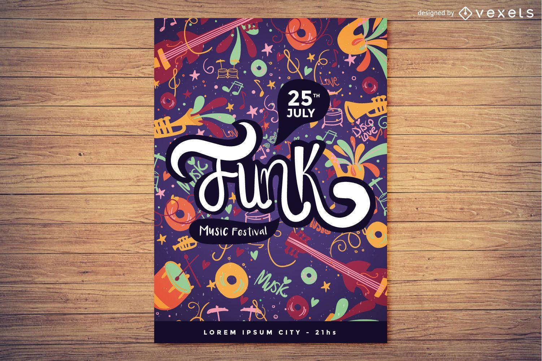 Diseño de carteles del festival de música funk.