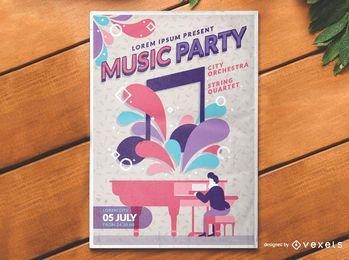 Conceito de cartaz de eventos de música clássica