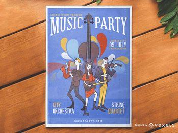 Concepto de cartel de evento de música de dibujos animados