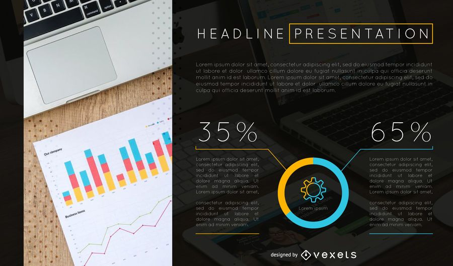 analyses presentation slide template vector download