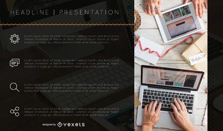 Modelo de slide de pontos principais de apresentação