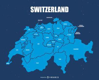 Mapa da divisão administrativa da Suíça