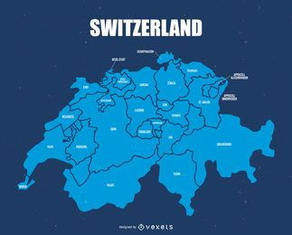 Mapa de la división administrativa de Suiza