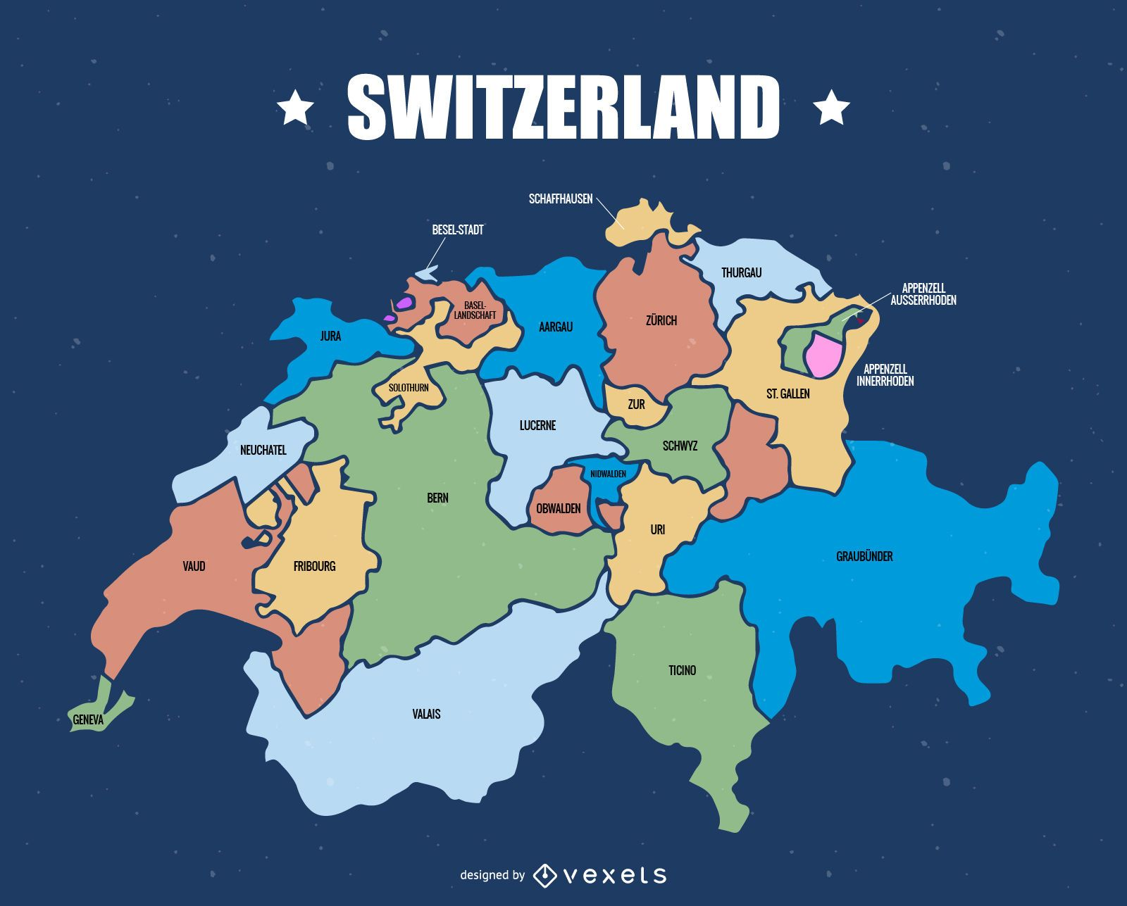 Switzerland cantons map - Vector download