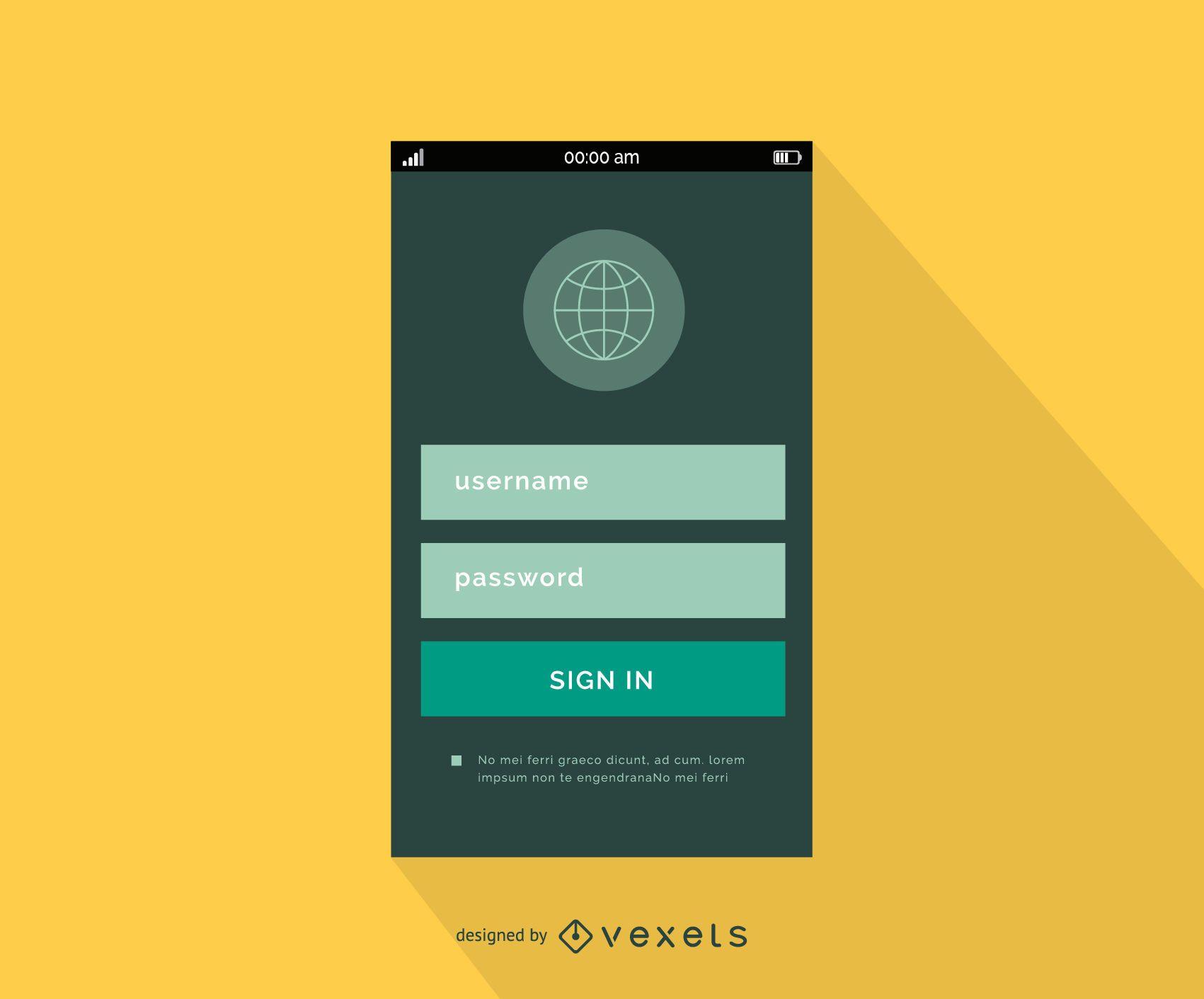 Diseño de interfaz de inicio de sesión móvil