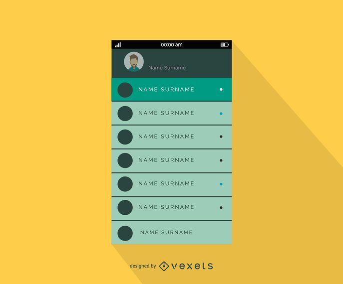 Plantilla de diseño de interfaz de lista de contactos móviles