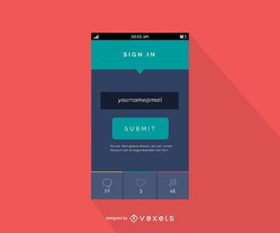 Diseño plano de interfaz de inicio de sesión de correo electrónico móvil