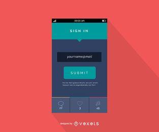 Flaches Design der mobilen E-Mail-Login-Schnittstelle