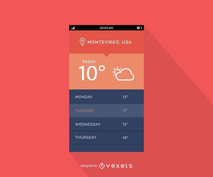 Design de interface de previsão de tempo móvel
