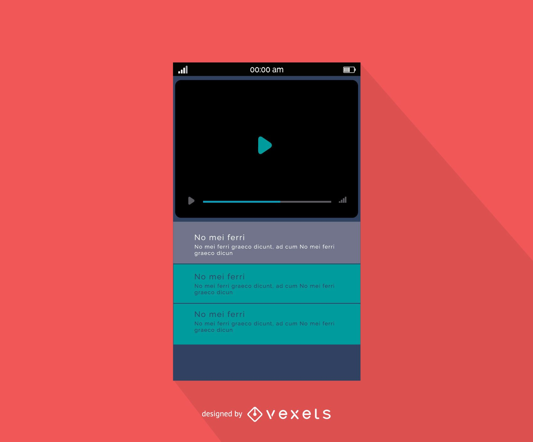 Mobile video player interface design - Vector download