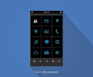 Modelo de interface de menu de aplicativo móvel