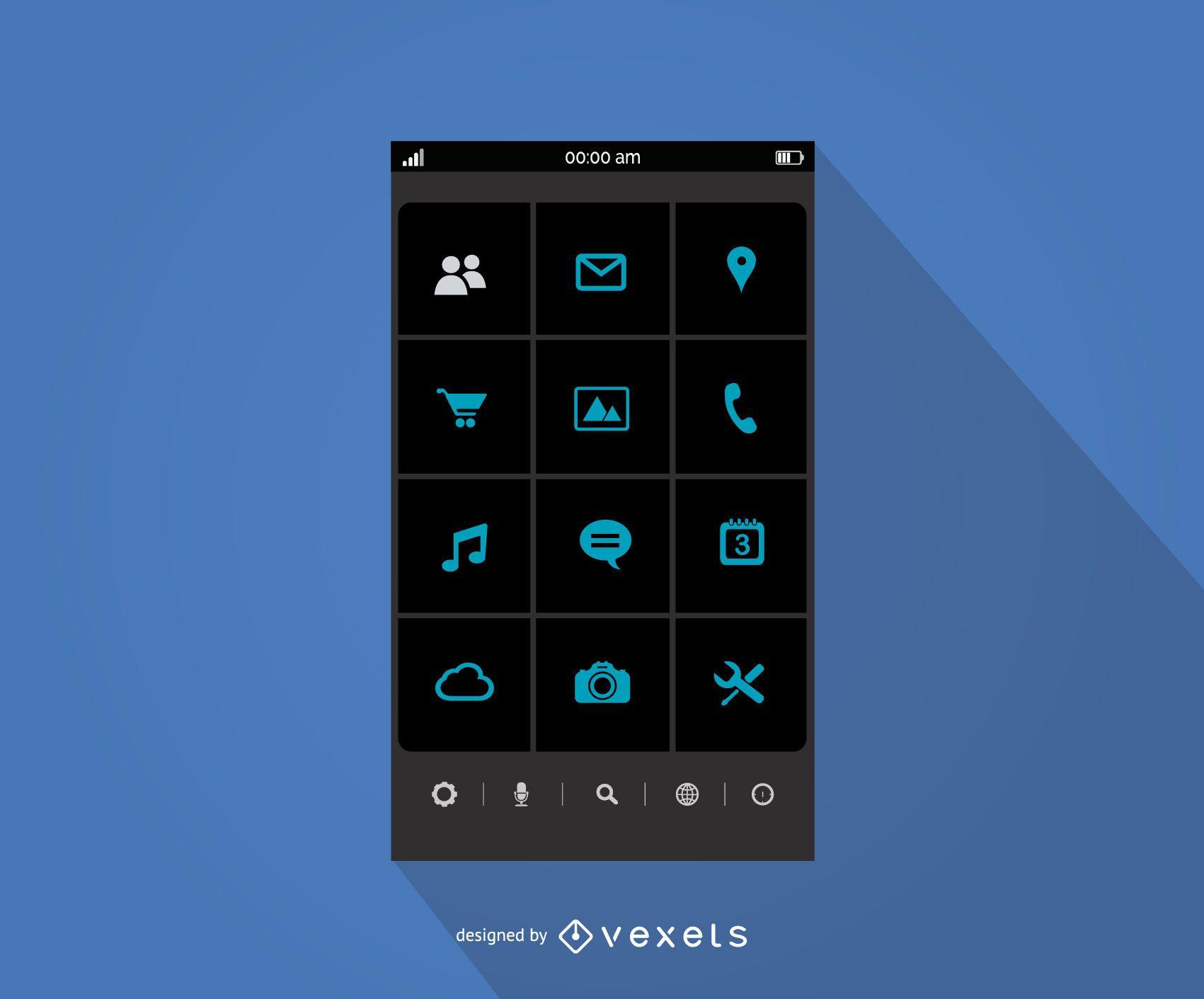 Mobile application menu interface template