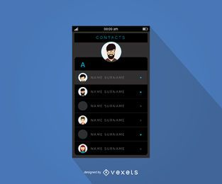 Mobile contacts menu interface design