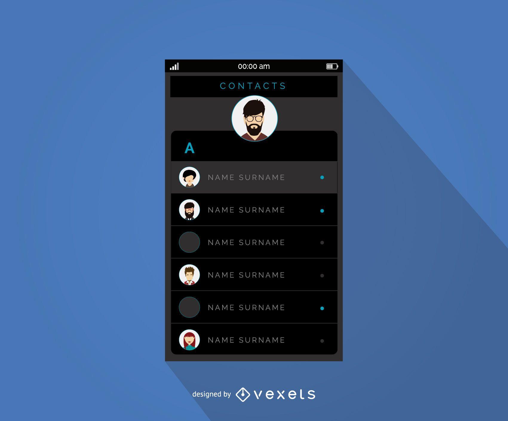Diseño de interfaz de menú de contactos móviles