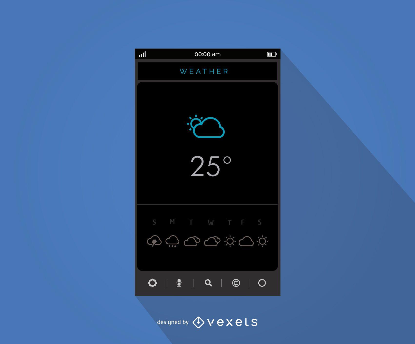 Diseño de interfaz de aplicación meteorológica móvil