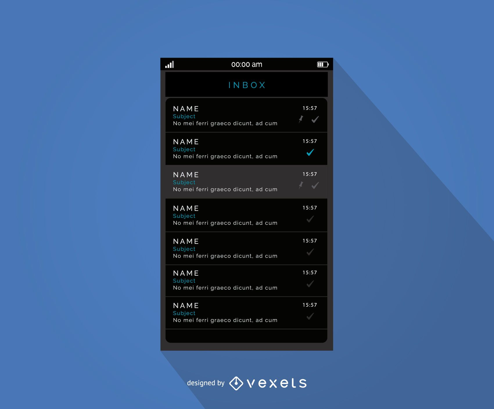 Diseño de interfaz de bandeja de entrada de mensajes móviles
