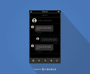Design de interface de aplicativo de bate-papo móvel