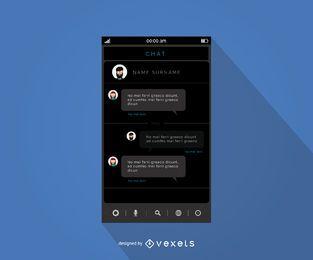 Diseño de la interfaz de la aplicación de chat móvil.
