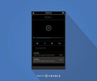 Design de interface do player de música móvel