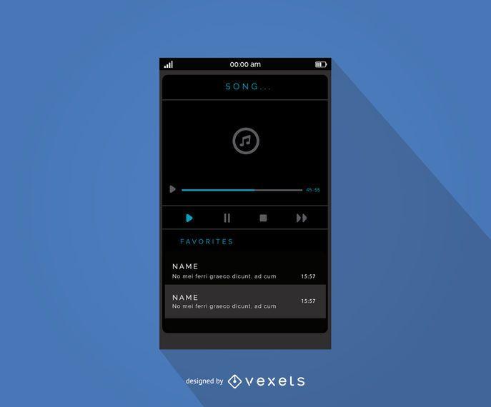 Design de interface do leitor de música móvel