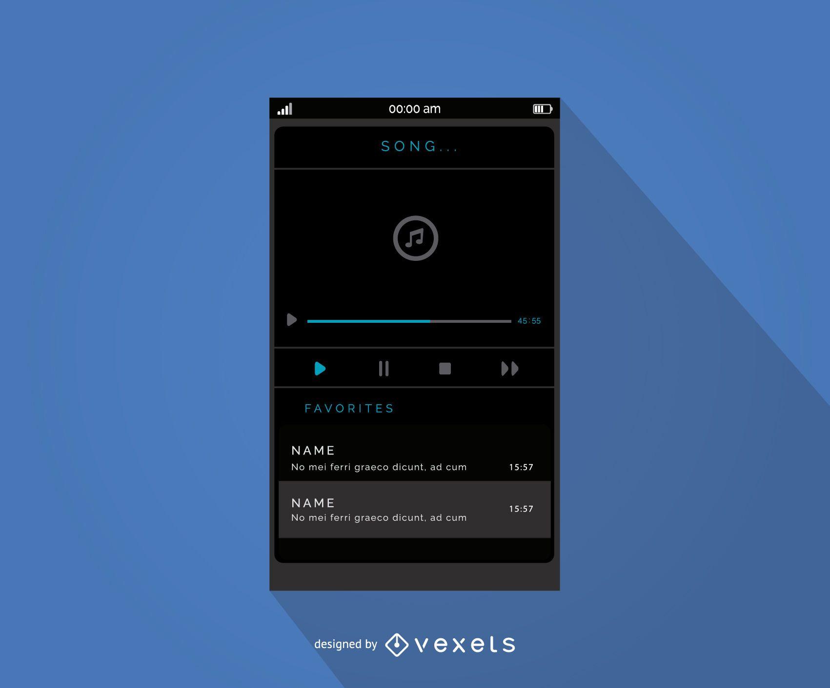 Diseño de interfaz de reproductor de música móvil