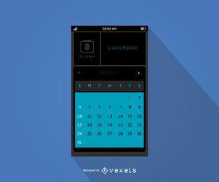 Design de interface de calendário móvel
