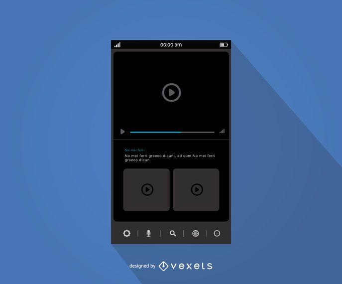 Diseño de la interfaz del reproductor multimedia móvil.