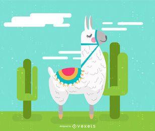 Ilustração dos desenhos animados de lhama